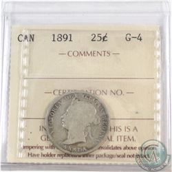 1891 Canada 25-cent ICCS Certified G-4
