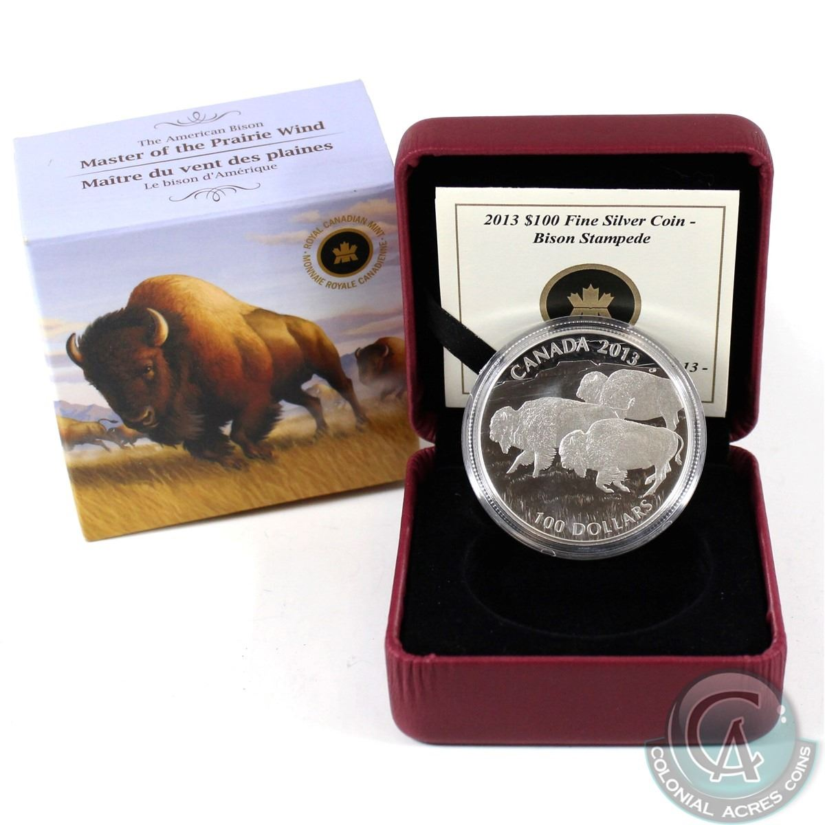 CANADA 2013 $100 for $100 Fine Silver Coin Bison Stampede