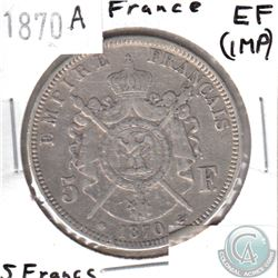 1870A France 5 Francs EF (impaired)