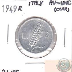 1949R Italy 2 Lire AU-UNC (corrosion)