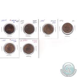 1-cent 1890H AU-UNC, 1892 AU-UNC, 1895 UNC+, 1896 AU, 1897 BU, 1898H UNC+. 6pcs