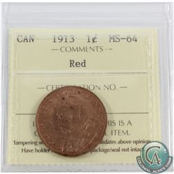 1913 Canada 1-cent ICCS Certified MS-64 RED!