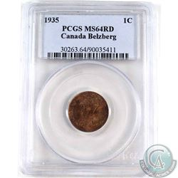 1935 Canada Belzberg 1-cent PCGS Certified MS-64 Red