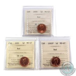 2000, 2001, & 2002P Canada 1-cent all ICCS Certified MS-67 RED! All tied for the highest grade by IC