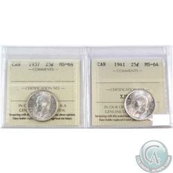 1937 & 1941 Canada 25-cent ICCS Certified MS-64. 2pcs