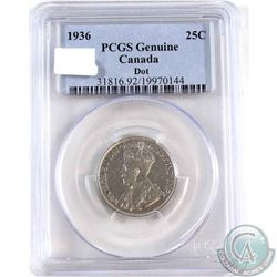 1936 DOT Canada 25-cent PCGS Certified Genuine