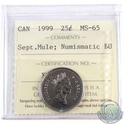 1999 September Mule 25-cent ICCS Certified MS-65; NBU