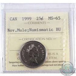 1999 November Mule 25-cent ICCS Certified MS-65 NBU