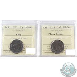 2015 Canada Flag Coloured & Non Coloured 25-cent ICCS Certified MS-66. 2pcs