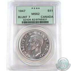 1947 Blunt 7 Canada Silver Dollar PCGS Certified MS-62
