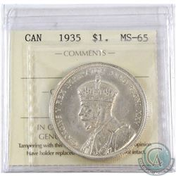 1935 Canada Silver Dollar ICCS Certified MS-65