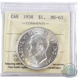 1938 Canada Silver Dollar ICCS Certified MS-63