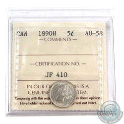1890H Canada 5-cent ICCS Certified AU-58