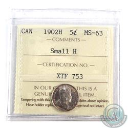 1902H Small H 5-cent ICCS Certified MS-63