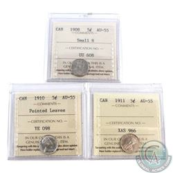 Canada 5-cent 1908 Small 8, 1910 Pointed Leaves & 1911 ICCS Certified AU-55. 3pcs