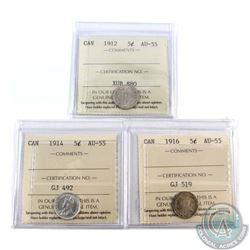 1912, 1914 & 1916 Canada 5-cent ICCS Certified AU-55. 3pcs