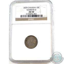 1870 Canada 10-cent Narrow 0 NGC Certified AU-50