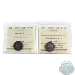 1870 10-cent Narrow 0 ICCS Certified VF-30 & 1871H F-15. 2pcs