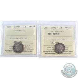 1871H & 1871 Rim Nicks 10-cent ICCS Certified VF-20. 2pcs