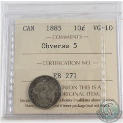 1885 Canada 10-cent Obverse 5 ICCS Certified VG-10
