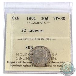 1891 10-cent 22 Leaves ICCS Certified VF-30