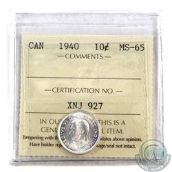 1940 Canada 10-cent ICCS Certified MS-65