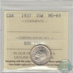 1937 Canada 10-cent ICCS Certified MS-65