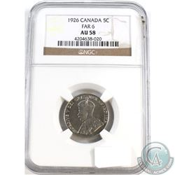 5-cent 1926 Far 6 NGC Certified AU-58