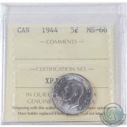 1944 Canada 5-cent ICCS Certified MS-66