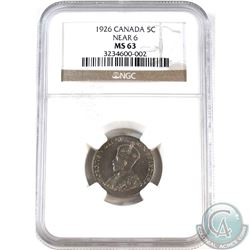 5-cent 1926 Near 6 NGC Certified MS-63. Tied for the 2nd highest grade! Low POP!