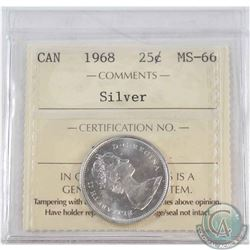 1968 Canada Silver 25-cent ICCS Certified MS-66