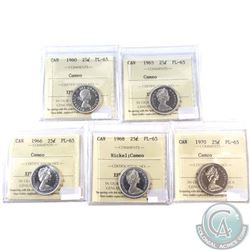 1960, 1965, 1966, 1968 Nickel & 1970 Canada 25-cent ICCS Certified PL-65 Cameo. 5pcs