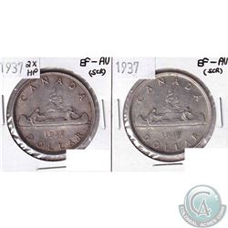 2x Canada Silver Dollar 1937 EF-AU (scratched) & 1937 2x HP EF-AU (scratched). 2pcs