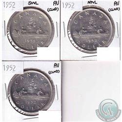 3x 1952 Canada Silver Dollars: 1952 AU (Cleaned), 1952 NWL AU (cleaned) & 1952 SWL AU (cleaned). 3pc