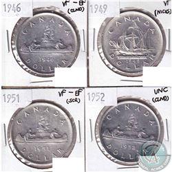 4x 1946-1952 Canada Silver Dollars: 1946 VF-EF (Cleaned), 1949 VF (Nicks), 1951 VF-EF (scratched) &