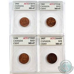 1937, 1958, 1960 & 1964 Canada 1-cent AGC Certified MS-67. 4pcs