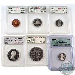 6x Canada 1-cent, 5-cent, 10-cent, 50-cents & Dollar ACG/ICG Certified: 1963 1-cent ACG PR-68,