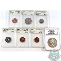 7X Canada 1-cent, 5-cent, 10-cent, 50-cent & Dollar ACG/NGC Certified: 1963 1c ACG PL-68, 1986 1c AC