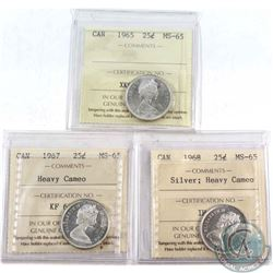 1965, 1967 Heavy Cameo & 1968 Silver Heavy Cameo Canada 25-cent ICCS Certified MS-65. 3pcs