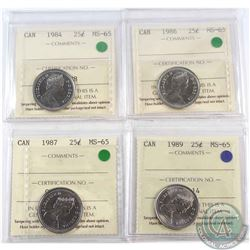 1984, 1986, 1987 & 1989 Canada 25-cent ICCS Certified MS-65. 4pcs
