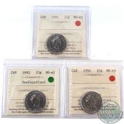 1991, 1992 Newfoundland & 1994 Canada 25-cent ICCS Certified MS-65. 3pcs
