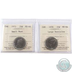1973 Small Bust & 1978 Large Denticle 25-cent ICCS Certified MS-66. 2pcs