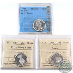 3x Canada 25-cent Certified Coins: 1960 CCCS PL-66 Heavy Cameo, 1965 ICCS PL-66 UHC & 1966 ICCS PL-6
