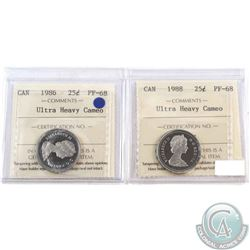 1986 & 1988 Canada 25-cent ICCS Certified PF-68; Ultra Heavy Cameo