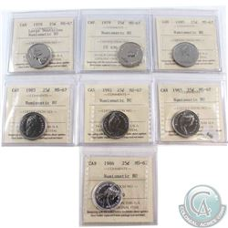 1978 Large Denticle, 1979, 1980, 1981, 1983, 1985, & 1986 Canada 25-cents ICCS Certified MS-67 NBU.