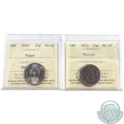 2010 Poppy & 2011 Falcon 25-cent ICCS Certified MS-67. 2pcs