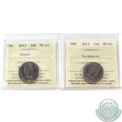 2012 Brock & 2013 Salaberry 25-cent ICCS Certified MS-67. 2pcs