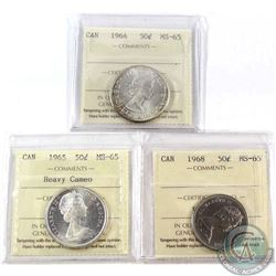 1964, 1965 Heavy Cameo & 1968 50-cent ICCS Certified MS-65. 3pcs