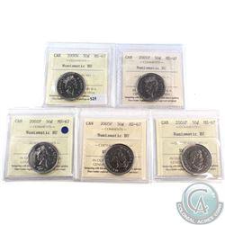 2000W, 2001P, 2002P, 2004P & 2005P Canada 50-cent ICCS Certified MS-67. 5pcs