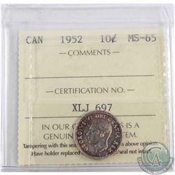 1952 Canada 10-cent ICCS Certified MS-65